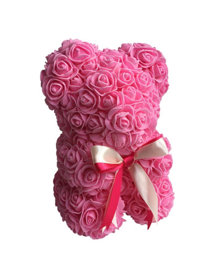 Medvídek z růží v dárkové krabici – Růžový