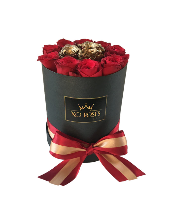 Kulatý box – Červeno/Zlaté Růže – Mini